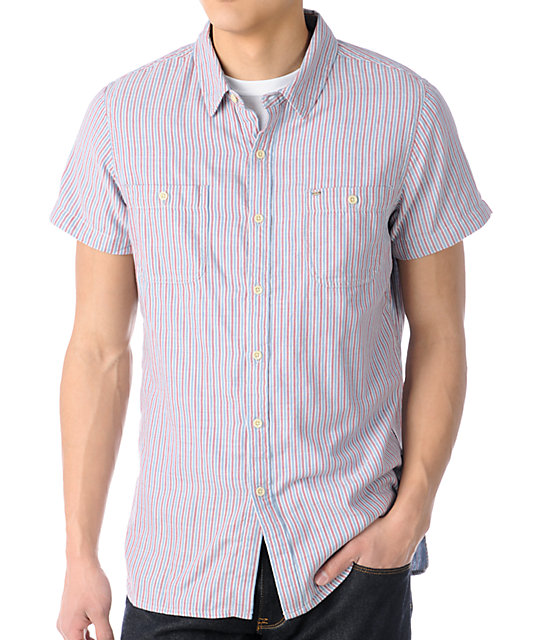 Obey Nelson Red & Blue Stripe Button Up Shirt
