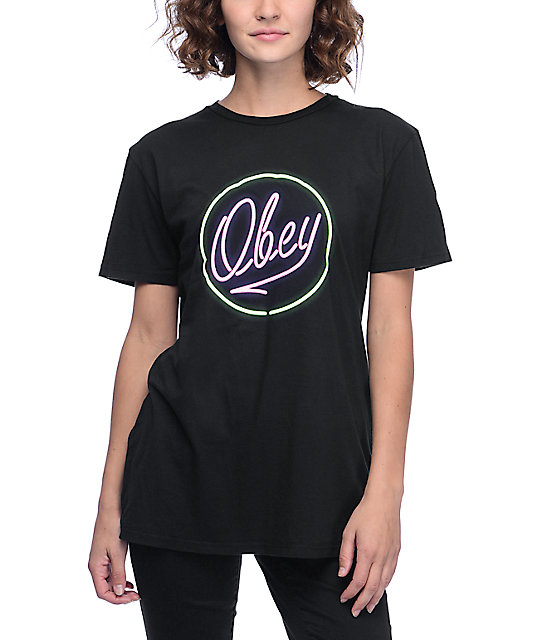 Obey neon classic black t shirt at zumiez pdp for Black obey t shirt