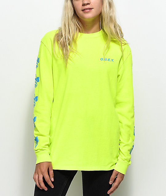 Obey New Rose 2 Neon Yellow Long Sleeve T-Shirt | Zumiez