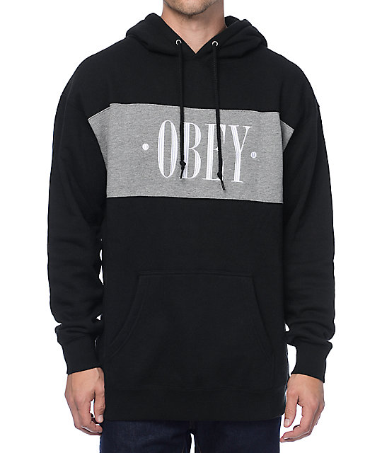 Obey New Times Black & Grey Hoodie at Zumiez : PDP