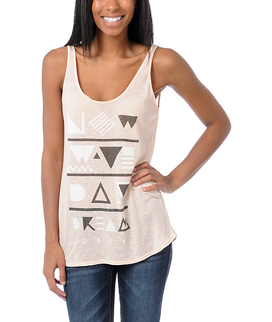Obey New Wave Day Dream Peach Nubby Tank Top