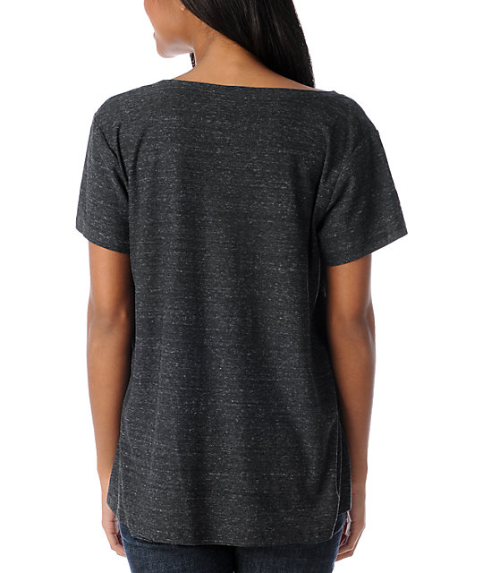 Obey No 9 Charcoal Oversized Tri-Blend Burnout T-Shirt