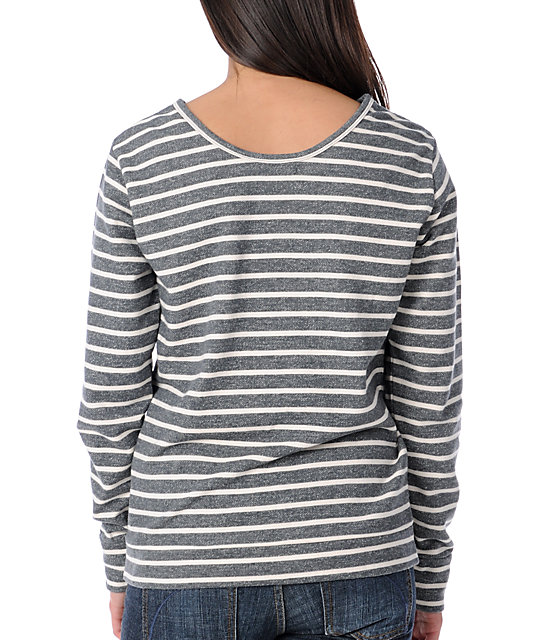 Obey No Authority Charcoal Stripe Pullover Sweatshirt