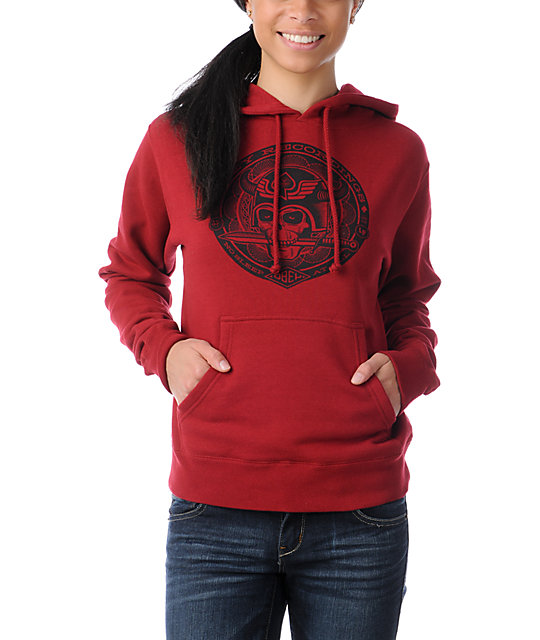Obey No Sleep Garnet Red Pullover Hoodie