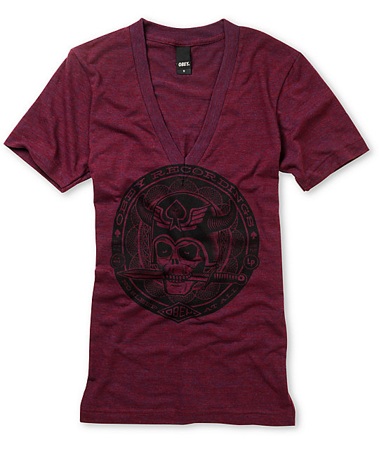 Obey No Sleep Heather Maroon Tri Blend V-Neck T-Shirt