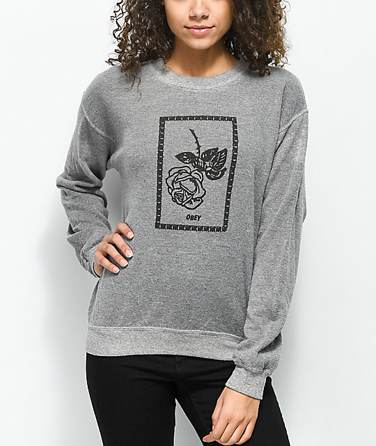 Obey Nobody's Flower Grey Fleece Sweatshirt by Obey
