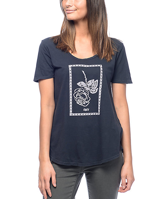 Obey Nobody's Flower Madison Navy Scoop T-Shirt
