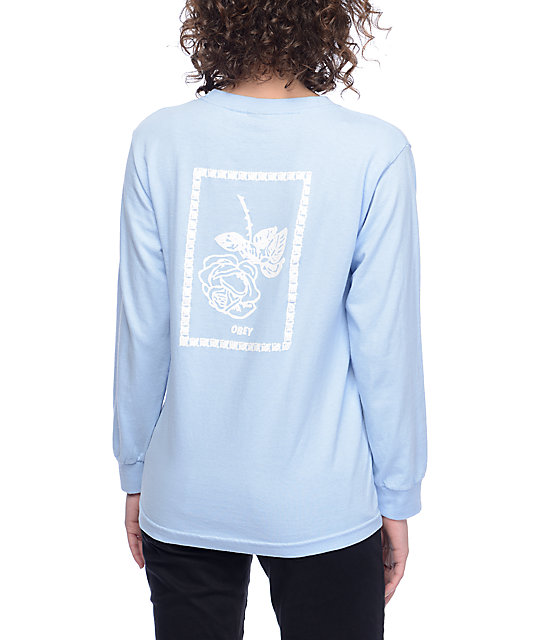 Nobodys Flower Salvage Blue Womens Long Sleeve T-Shirt
