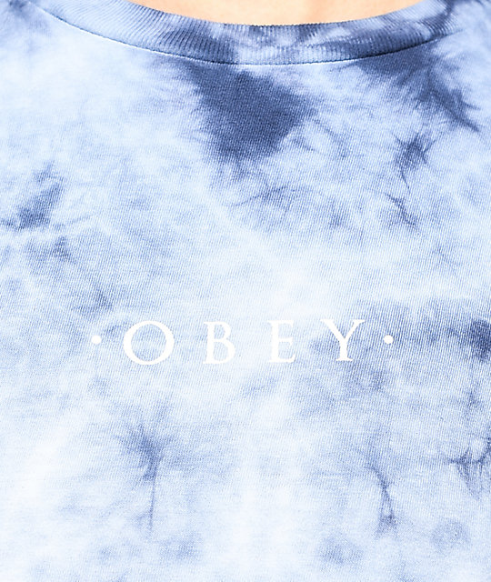 Obey Novel Navy Tie Dye Long Sleeve T-Shirt