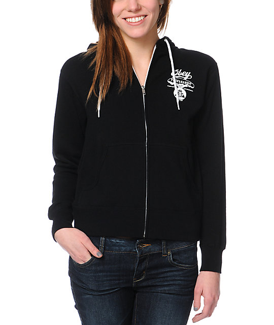 Obey Nuclear Attack Black Zip Up Hoodie