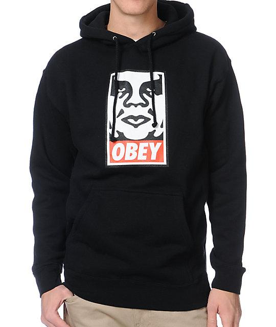 obey og face black pullover hoodie at zumiez pdp. Black Bedroom Furniture Sets. Home Design Ideas