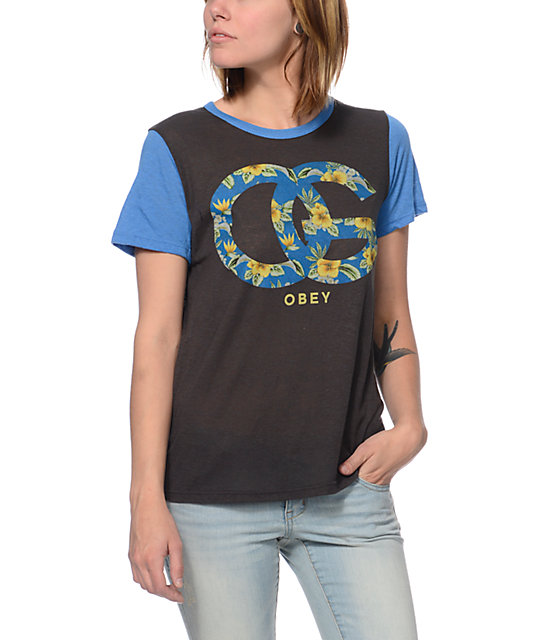 Obey OG Island Charcoal & Blue Yesterday T-Shirt