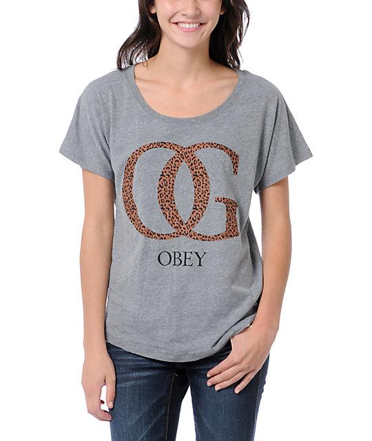 Obey OG Leopard Grey Dolman T-Shirt