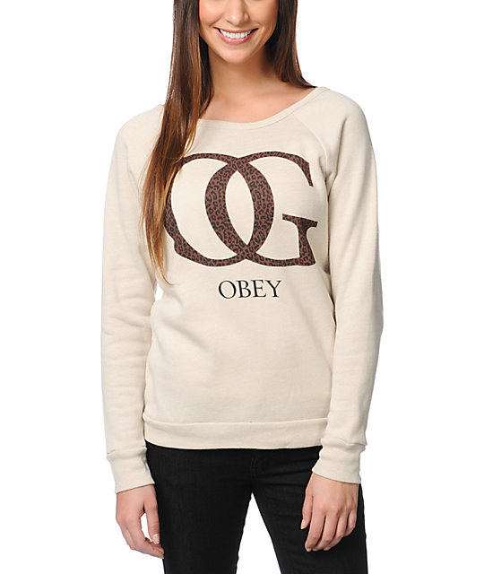 Obey OG Leopard Heather Stone Crew Neck Sweatshirt