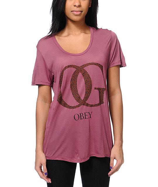 Obey OG Leopard Print Pink Beau T-Shirt