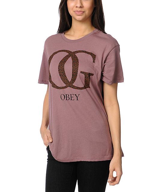 Obey OG Leopard Print Rose Tomboy T-Shirt