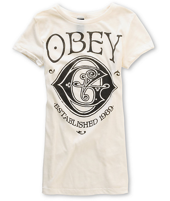 Obey OG Nouveau Cross Dye Cream T-Shirt