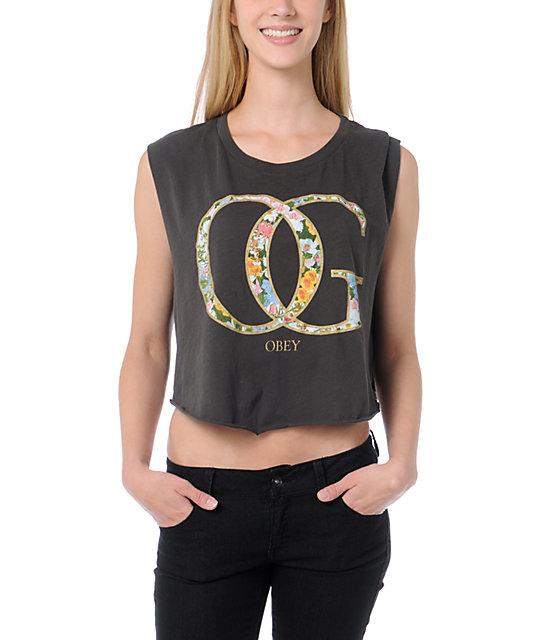 Obey OG Spring Charcoal Voodoo Crop T-Shirt