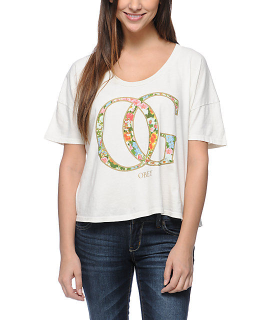 Obey OG Spring Natural Vintage Crop T-Shirt
