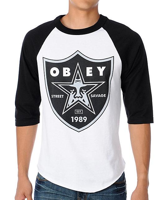 Obey obey nation 2 white black baseball t shirt for Black obey t shirt