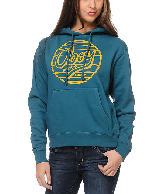 obey obey records teal pullover hoodie zumiez. Black Bedroom Furniture Sets. Home Design Ideas