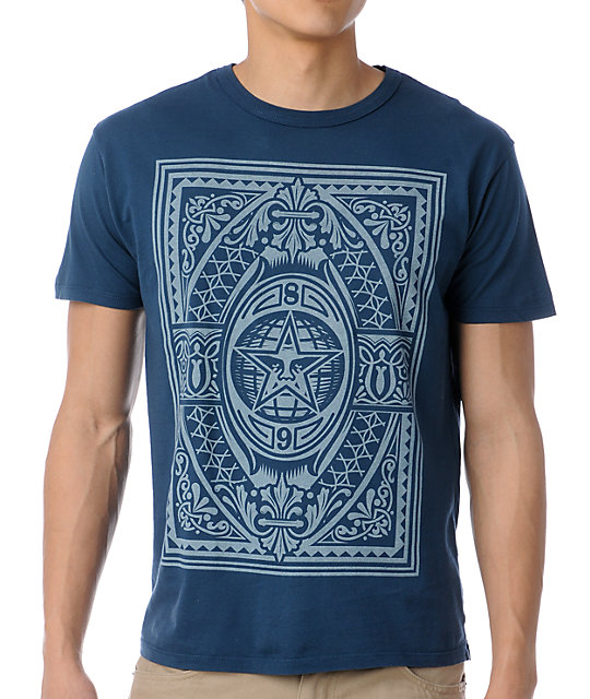 Obey Old World Order Antique Dark Blue T-Shirt