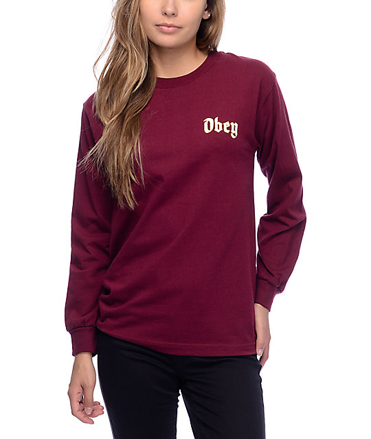 obey ole burgundy long sleeve t shirt zumiez