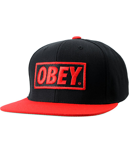 Obey Original Black & Red Snapback Hat