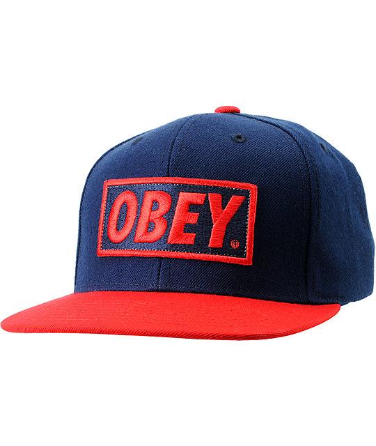 Obey Original Blue & Red Snapback Hat
