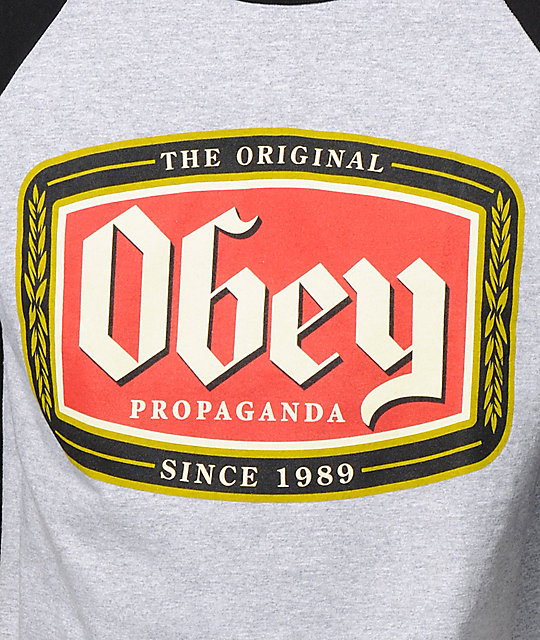 Obey Original Lager Grey & Black Baseball T-Shirt