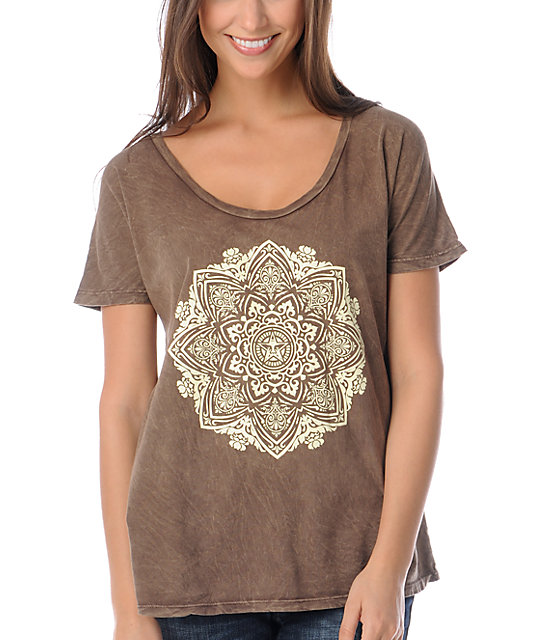 Obey Ornament Scoop Dolman Brown T-Shirt