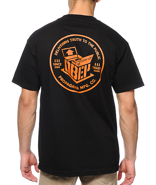 Obey overnight delivery black pocket t shirt zumiez for Fast delivery custom t shirts