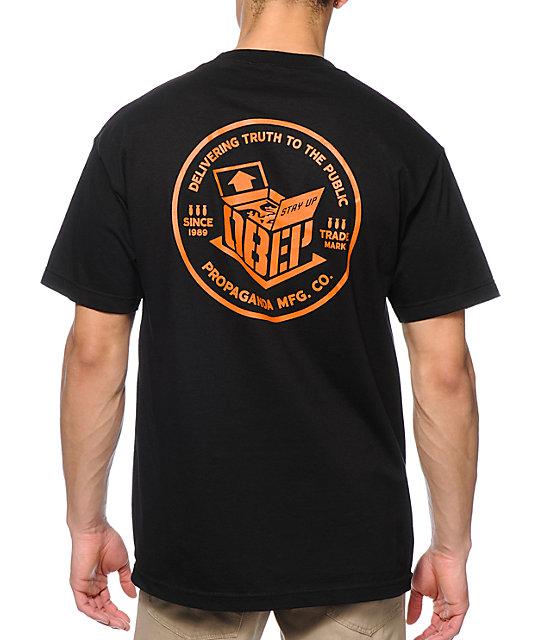 Obey Overnight Delivery Black Pocket T Shirt Zumiez