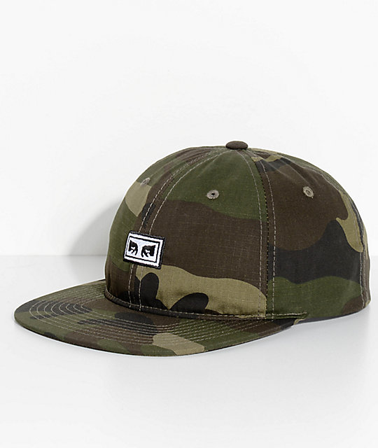 Obey Overthrow 6 Panel Camo Snapback Hat