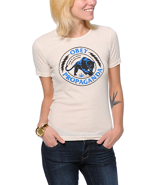 Obey Panther Militia Natural White Runaway T-Shirt