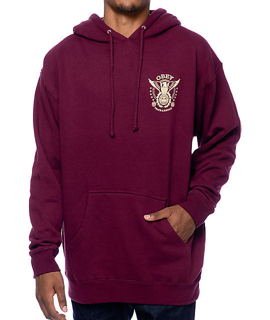 Obey Peace And Justice Eagle Burgundy Pullover Hoodie | Zumiez