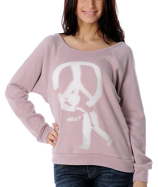 Obey Peace Burgundy Vandal Pullover Sweatshirt