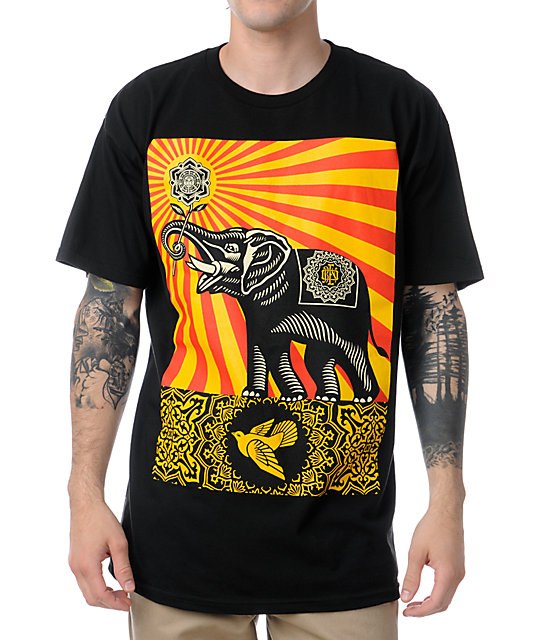 Obey Peace Elephant Black T-Shirt