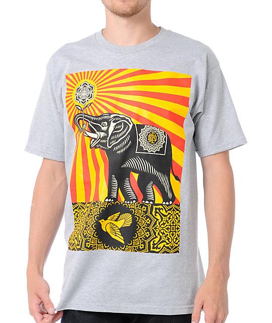 Obey Peace Elephant Grey T-Shirt