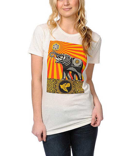 Obey Peace Elephant Ivory White T-Shirt