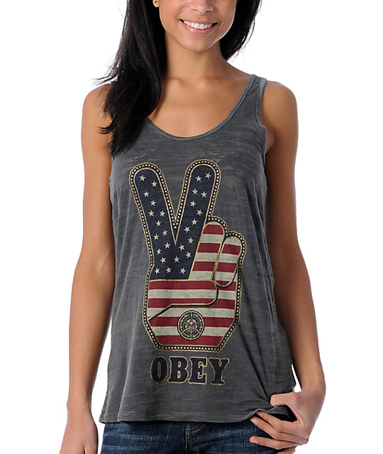 Obey Peace Fingers Burnout Charcoal Tank Top