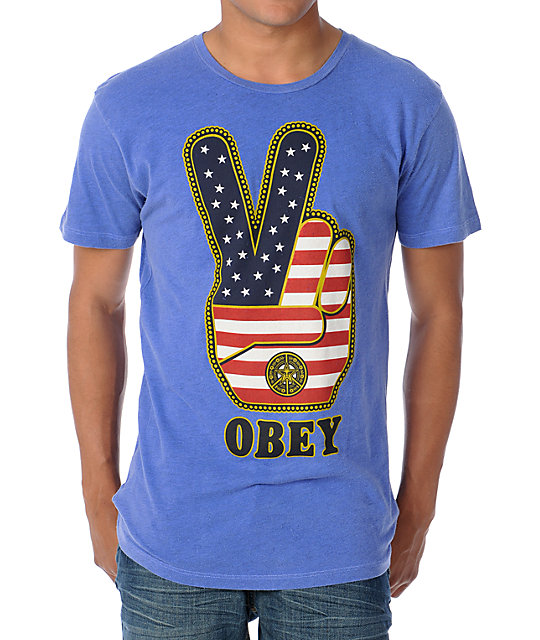 Obey Peace Fingers Heather Blue T-Shirt
