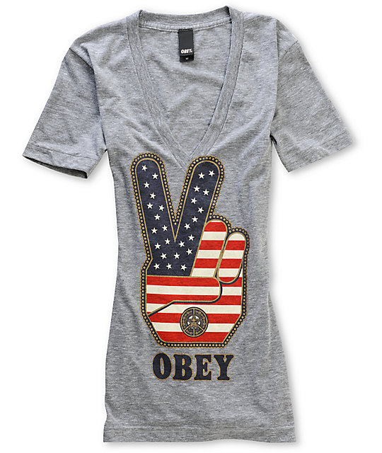 Obey Peace Fingers V-Neck Grey T-Shirt