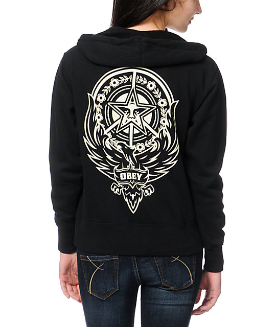 Obey Peace Phoenix Black Zip Up Hoodie