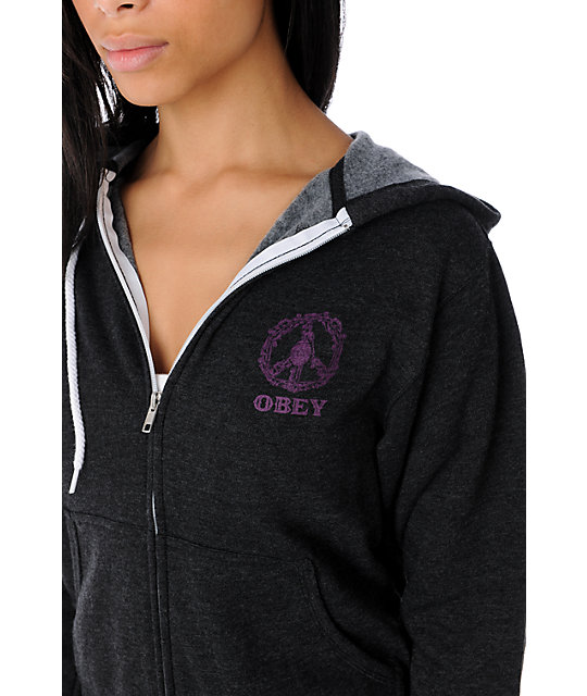 Obey Peace Wreath Charcoal Hoodie