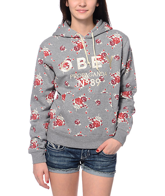 Obey Pearse Grey Floral Print Pullover Hoodie at Zumiez : PDP