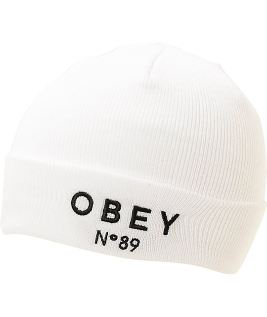 Obey Pearse White Fold Beanie