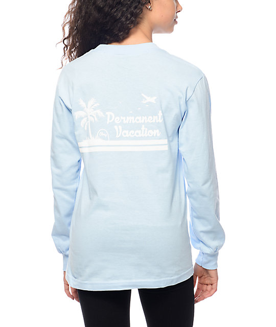 Permanent Vacation Blue Long Sleeve T-Shirt
