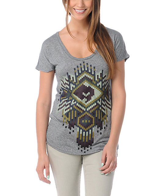 Obey Petote Pattern Grey Mock Twist T-Shirt