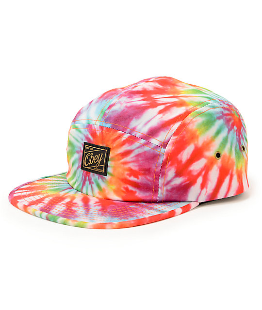 Obey Phil Tie Dye 5 Panel Hat